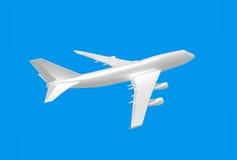 Άσπρο αεροπλάνο στο μπλε υπόβαθρο τρισδιάστατο Στοκ εικόνα με δικαίωμα ελεύθερης χρήσης