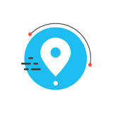 Άσπρο απλό εικονίδιο καρφιτσών στον μπλε κύκλο απεικόνιση αποθεμάτων