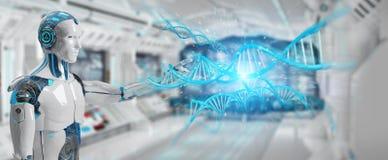Άσπρο αρσενικό cyborg που ανιχνεύει την ανθρώπινη τρισδιάστατη απόδοση DNA διανυσματική απεικόνιση