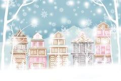 Άσπρο αστικό τοπίο Χριστουγέννων, δέντρα διακοπών Χριστουγέννων με το χιόνι - γραφική σύσταση των τεχνικών ζωγραφικής ελεύθερη απεικόνιση δικαιώματος
