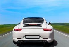 Άσπρο αυτοκίνητο πολυτέλειας η πλάτη Στοκ Εικόνες