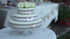 Άσπρο γαμήλιο κέικ όμορφο, διακόσμηση, επιδόρπιο, λουλούδι, πίνακας φιλμ μικρού μήκους