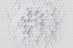 Άσπρο γεωμετρικό εξαγωνικό αφηρημένο υπόβαθρο τρισδιάστατη απόδοση Στοκ Εικόνες