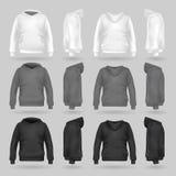 Άσπρο, γκρίζο και μαύρο πρότυπο μπλουζών hoodie σε τέσσερις διαστάσεις ελεύθερη απεικόνιση δικαιώματος