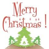Άσπρο διάνυσμα ευχετήριων καρτών Χαρούμενα Χριστούγεννας απεικόνιση αποθεμάτων