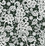 Άσπρο διανυσματικό άνευ ραφής σχέδιο δαντελλών floral πρότυπο καρδιών λουλουδιών απελευθέρωσης πεταλούδων κίτρινο Στοκ φωτογραφία με δικαίωμα ελεύθερης χρήσης