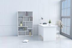 Άσπρο δωμάτιο ανάγνωσης που διακοσμείται στην ευτυχή ημέρα Στοκ εικόνες με δικαίωμα ελεύθερης χρήσης