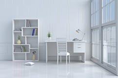 Άσπρο δωμάτιο ανάγνωσης Στοκ φωτογραφία με δικαίωμα ελεύθερης χρήσης