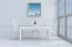 Άσπρο δωμάτιο κατανάλωσης που διακοσμείται στην ευτυχή ημέρα Στοκ φωτογραφία με δικαίωμα ελεύθερης χρήσης