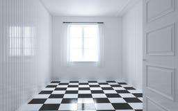 Άσπρο δωμάτιο με το παράθυρο, την πόρτα και την κουρτίνα Στοκ φωτογραφία με δικαίωμα ελεύθερης χρήσης