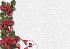 Άσπρο εκλεκτής ποιότητας υπόβαθρο με σύνορα των όμορφων τριαντάφυλλων χαιρετήστε διανυσματική απεικόνιση