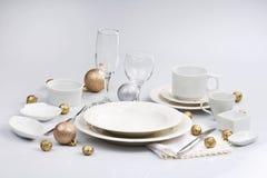 Άσπρο επιτραπέζιο σκεύος Στοκ Εικόνα
