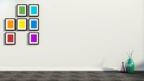 Άσπρο εσωτερικό με τα ζωηρόχρωμα έργα ζωγραφικής και τα βάζα Στοκ Εικόνες