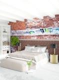 Άσπρο εσωτερικό σχέδιο ύφους κρεβατοκάμαρων ελάχιστο με τον ξύλινο τοίχο και τον γκρίζο καναπέ τρισδιάστατη απόδοση τρισδιάστατη  Στοκ φωτογραφία με δικαίωμα ελεύθερης χρήσης