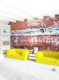 Άσπρο εσωτερικό σχέδιο ύφους κρεβατοκάμαρων ελάχιστο με τον ξύλινο τοίχο και τον γκρίζο καναπέ τρισδιάστατη απόδοση τρισδιάστατη  Στοκ εικόνες με δικαίωμα ελεύθερης χρήσης