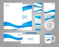 Άσπρο εταιρικό πρότυπο ταυτότητας με τα μπλε κύματα Στοκ φωτογραφία με δικαίωμα ελεύθερης χρήσης