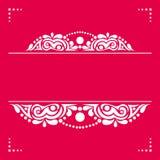 Άσπρο διακοσμητικό στοιχείο σε ένα ρόδινο υπόβαθρο για τις κάρτες, invitat Στοκ Φωτογραφία