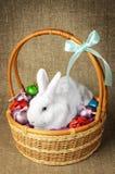 Άσπρο καθαρό όμορφο λαγουδάκι Πάσχας δίπλα σε ένα ψάθινο καλάθι με τα αυγά στο burlap krashenyymi υποβάθρου φυσικό ύφασμα Στοκ Εικόνα