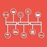 Άσπρο καθημερινό infographics στο σκούρο κόκκινο υπόβαθρο Στοκ φωτογραφία με δικαίωμα ελεύθερης χρήσης
