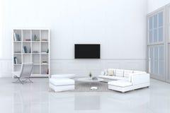 Άσπρο καθιστικό που διακοσμείται με τον άσπρο καναπέ Στοκ φωτογραφία με δικαίωμα ελεύθερης χρήσης
