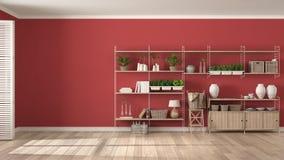 Άσπρο και κόκκινο εσωτερικό σχέδιο Eco με το ξύλινο ράφι, diy ver Στοκ Εικόνες
