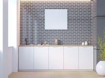 Άσπρο και μαύρο εσωτερικό κουζινών τούβλου με τις άσπρες επιτραπέζιες κορυφές και σε δοχείο εγκαταστάσεις κοντά στον τοίχο τρισδι στοκ εικόνα