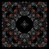 Άσπρο και μαύρο σχέδιο Bandana με τα τριαντάφυλλα Διανυσματικό τετράγωνο τυπωμένων υλών Στοκ Φωτογραφία