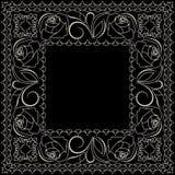 Άσπρο και μαύρο σχέδιο Bandana με τα τριαντάφυλλα Διανυσματικό τετράγωνο τυπωμένων υλών Στοκ φωτογραφία με δικαίωμα ελεύθερης χρήσης