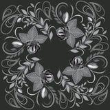 Άσπρο και μαύρο σχέδιο Bandana με τα τριαντάφυλλα και το Paisley Διανυσματικό τετράγωνο τυπωμένων υλών Στοκ Φωτογραφίες