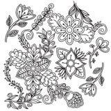 Άσπρο και μαύρο floral σύνολο doodle Στοκ φωτογραφία με δικαίωμα ελεύθερης χρήσης