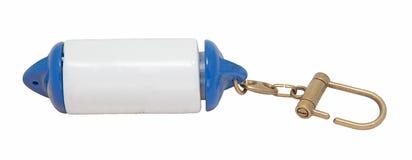 Άσπρο και μπλε επιπλέον θαλάσσιο κόσμημα μικρής αξίας μορφής κιγκλιδωμάτων βαρκών Στοκ φωτογραφίες με δικαίωμα ελεύθερης χρήσης