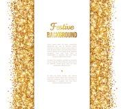 Άσπρο και χρυσό έμβλημα, σχέδιο ευχετήριων καρτών Στοκ Εικόνες