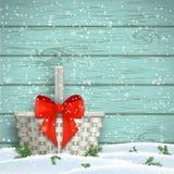 Άσπρο καλάθι με την κόκκινη κορδέλλα, Χριστούγεννα κινητήρια, απεικόνιση Στοκ Εικόνες