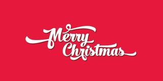 Άσπρο κείμενο σε ένα κόκκινο υπόβαθρο Εγγραφή Καλών Χριστουγέννων Στοκ Εικόνες
