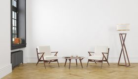 Άσπρο κενό δωμάτιο με το λαμπτήρα επιτραπέζιων πατωμάτων πολυθρόνων τρισδιάστατη χλεύη επάνω Στοκ Φωτογραφίες