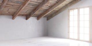 Άσπρο κενό δωμάτιο στη σοφίτα Στοκ Εικόνες