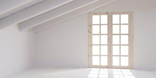 Άσπρο κενό δωμάτιο στη σοφίτα Στοκ Φωτογραφία