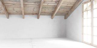 Άσπρο κενό δωμάτιο στη σοφίτα στοκ εικόνα με δικαίωμα ελεύθερης χρήσης