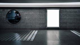 Άσπρο κενό placeholder διαφήμισης στον υπόγειο στοκ εικόνες με δικαίωμα ελεύθερης χρήσης