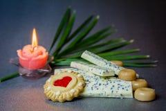 Άσπρο κερί μπισκότων σοκολάτας σε ένα σκοτεινό υπόβαθρο Στοκ εικόνα με δικαίωμα ελεύθερης χρήσης