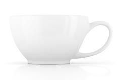 Άσπρο κεραμικό κενό κενό φλυτζανιών για τον καφέ ή το τσάι Στοκ Φωτογραφία