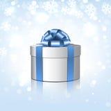 Άσπρο κιβώτιο δώρων με ένα μπλε τόξο. ελεύθερη απεικόνιση δικαιώματος