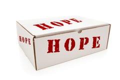 Άσπρο κιβώτιο με την ελπίδα στις πλευρές που απομονώνονται στοκ εικόνες
