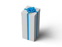 Άσπρο κιβώτιο δώρων με το μπλε τόξο κορδελλών Στοκ Φωτογραφία