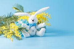 Άσπρο κουνέλι παιχνιδιών και κίτρινο mimosa Στοκ φωτογραφία με δικαίωμα ελεύθερης χρήσης
