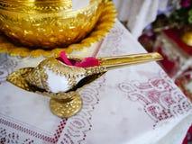 Άσπρο κοχύλι conch με το χρυσό σχέδιο για το τεθειμένο νερό ευλογίας Στοκ Φωτογραφίες