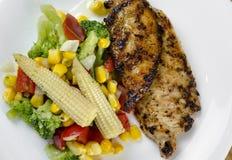 Άσπρο κρέας κοτόπουλου με τα λαχανικά Στοκ Εικόνα