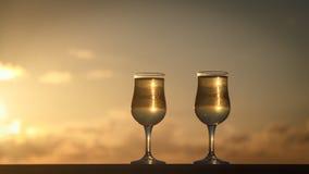άσπρο κρασί γυαλιών Στοκ Εικόνες