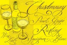 Άσπρο κρασί με την καλλιγραφία Στοκ εικόνα με δικαίωμα ελεύθερης χρήσης