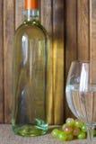 άσπρο κρασί μπουκαλιών άσπρο κρασί γυαλιού Στοκ Εικόνες